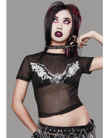 Straight From Hell Mesh Crop Tee