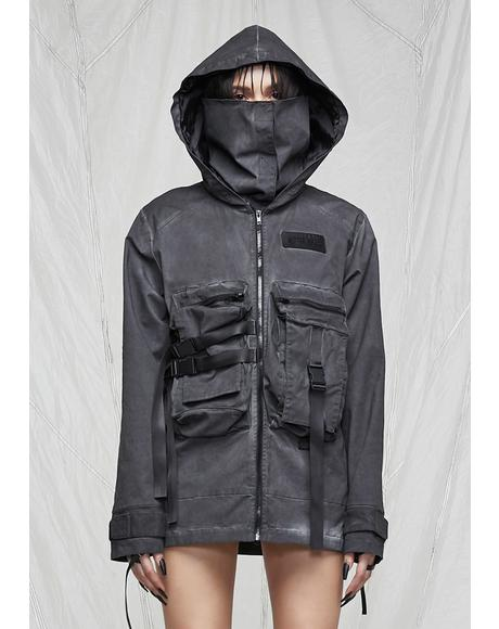 Synth Unisex Charcoal Washed Mask Utility Jacket