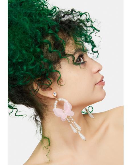Pixie Fairytale Life Butterfly Pearl Drop Earrings