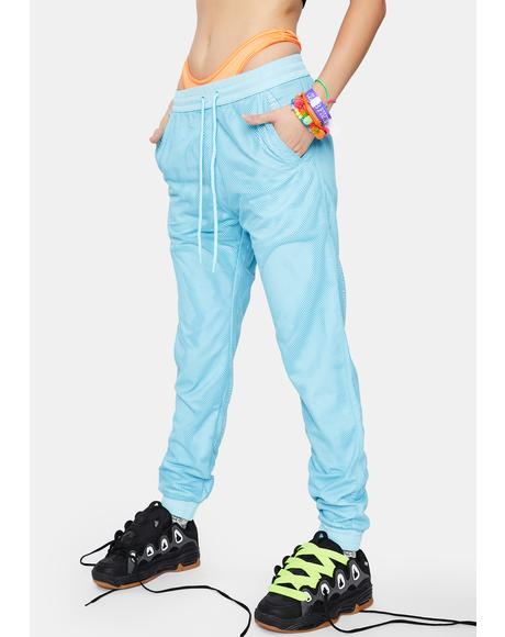 Mesh Overlay Nylon Jogger Pants