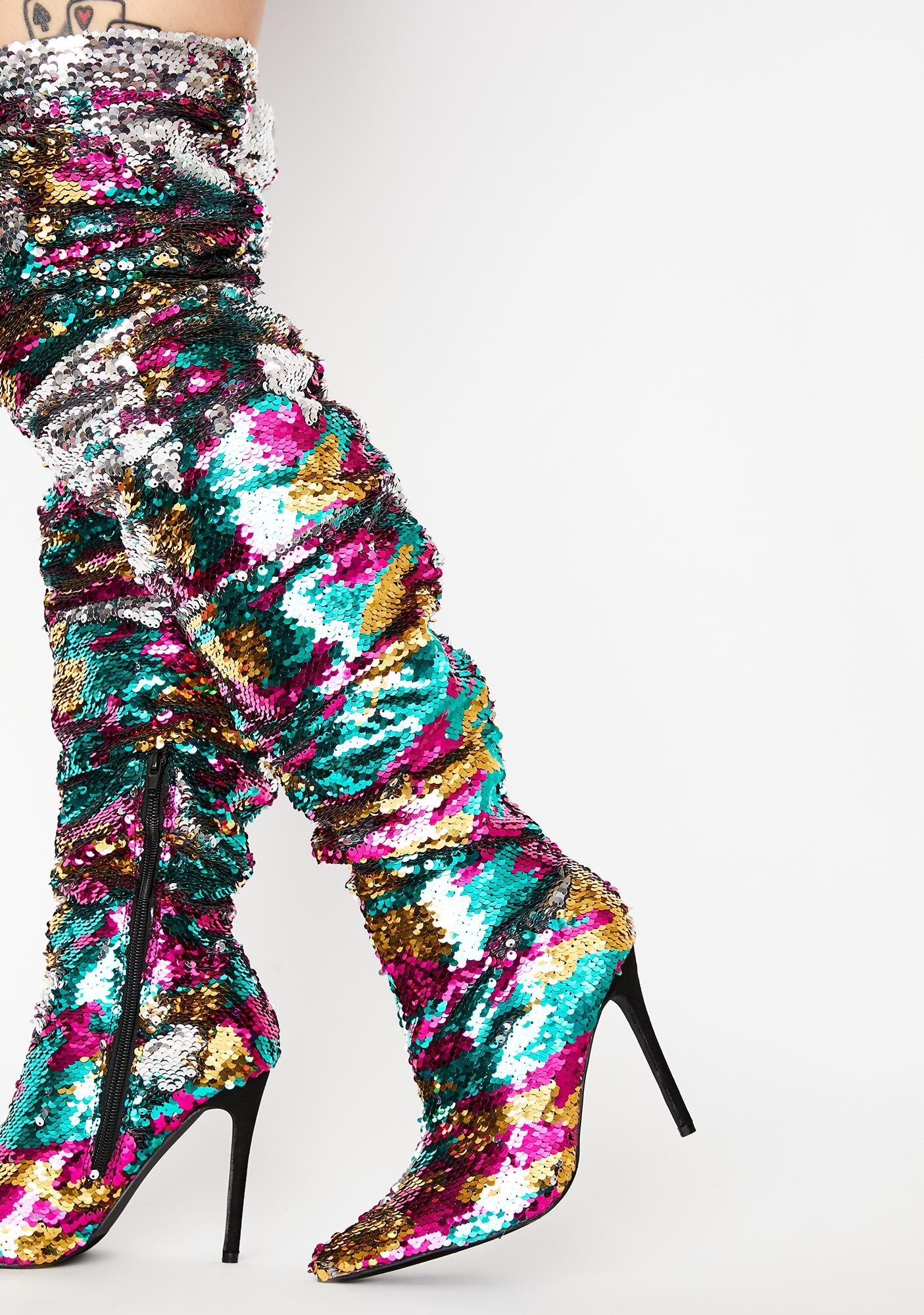 Glitter Diet Knee High Boots