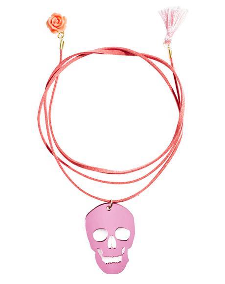 Pink Skull Wrap Choker