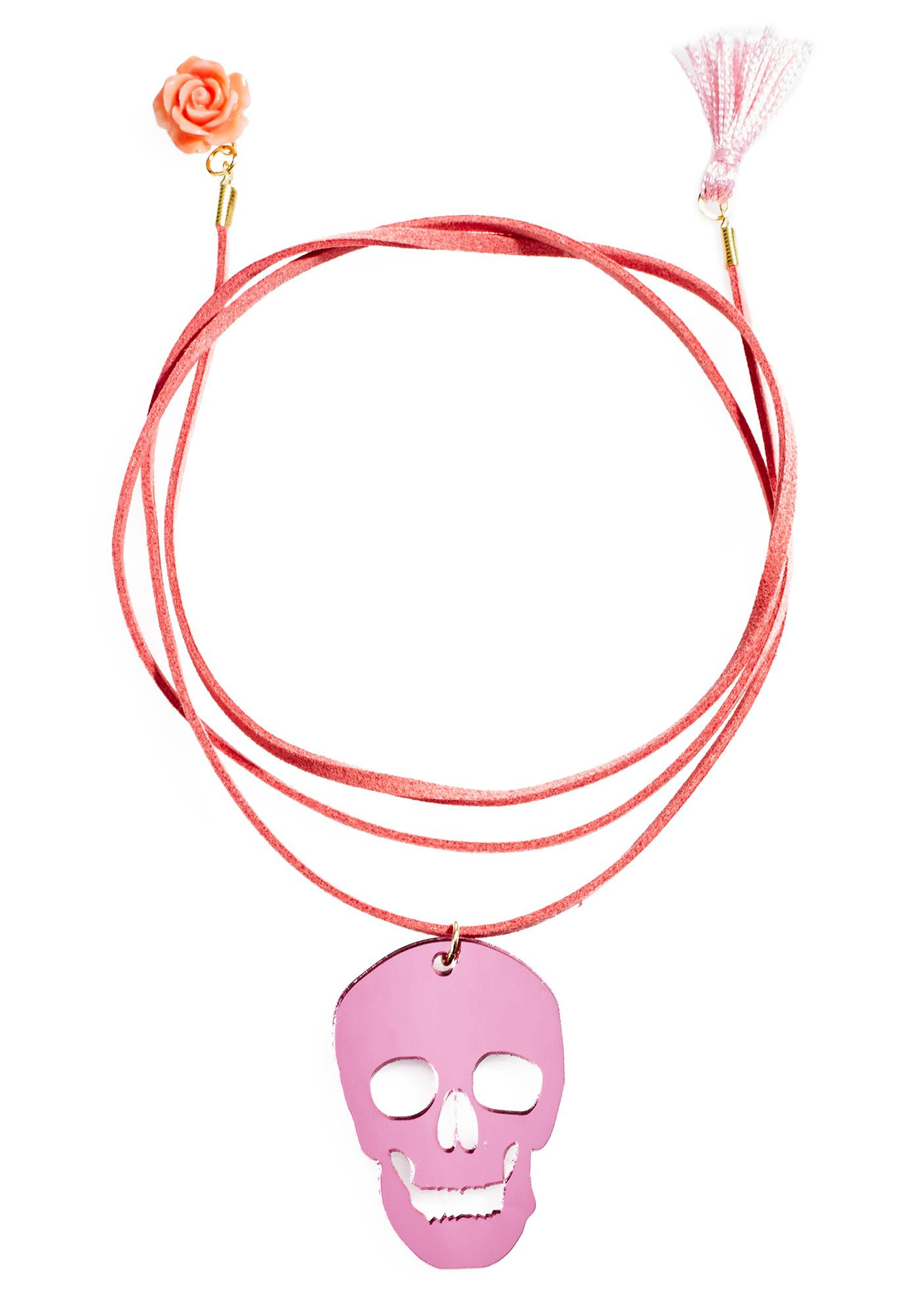 Love And Madness Pink Skull Wrap Choker