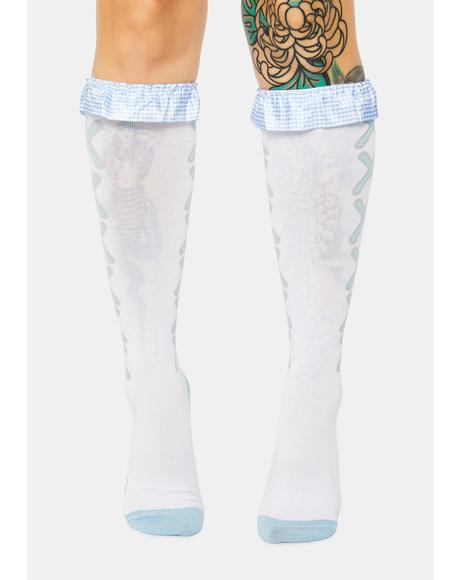 Not Your Doll Ruffle Knee High Socks