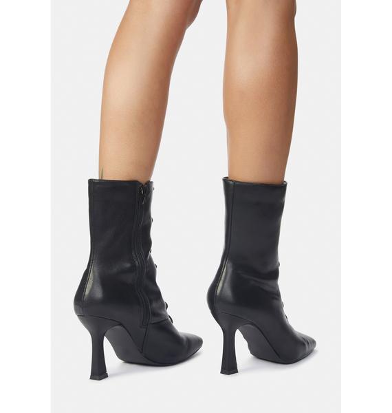 Public Desire Black Bianco PU Lace Up Ankle Boots
