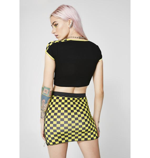 Current Mood Speed It Up Checkered Mini Skirt