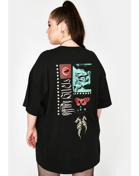Curve Black Tribal Dragon Graphic Tee
