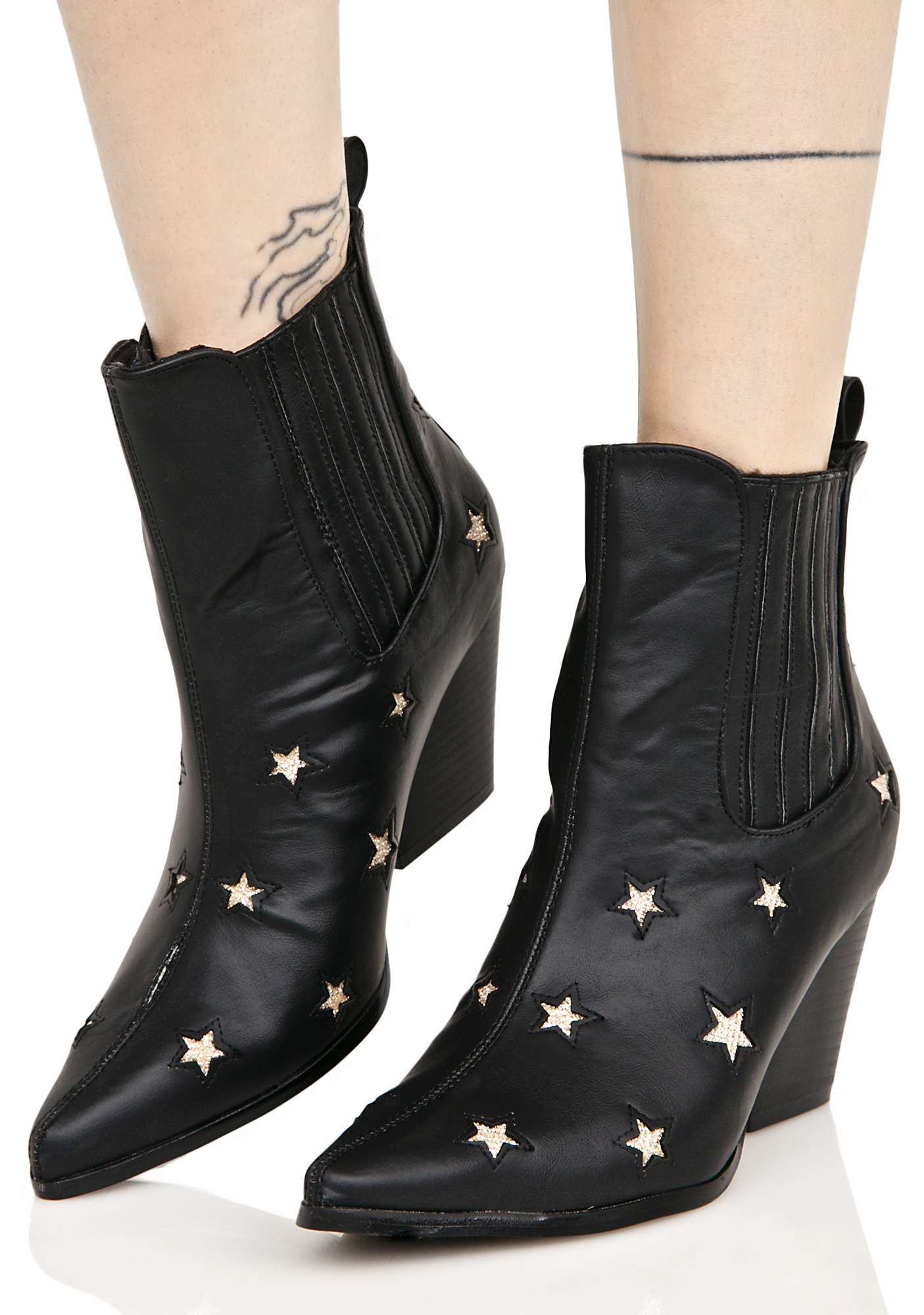 Vegan Leather Stars Ankle Boot