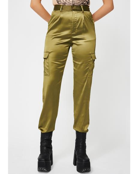 Green Satin Utility Trousers