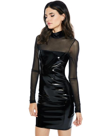 Last Call Vinyl Bodycon Dress