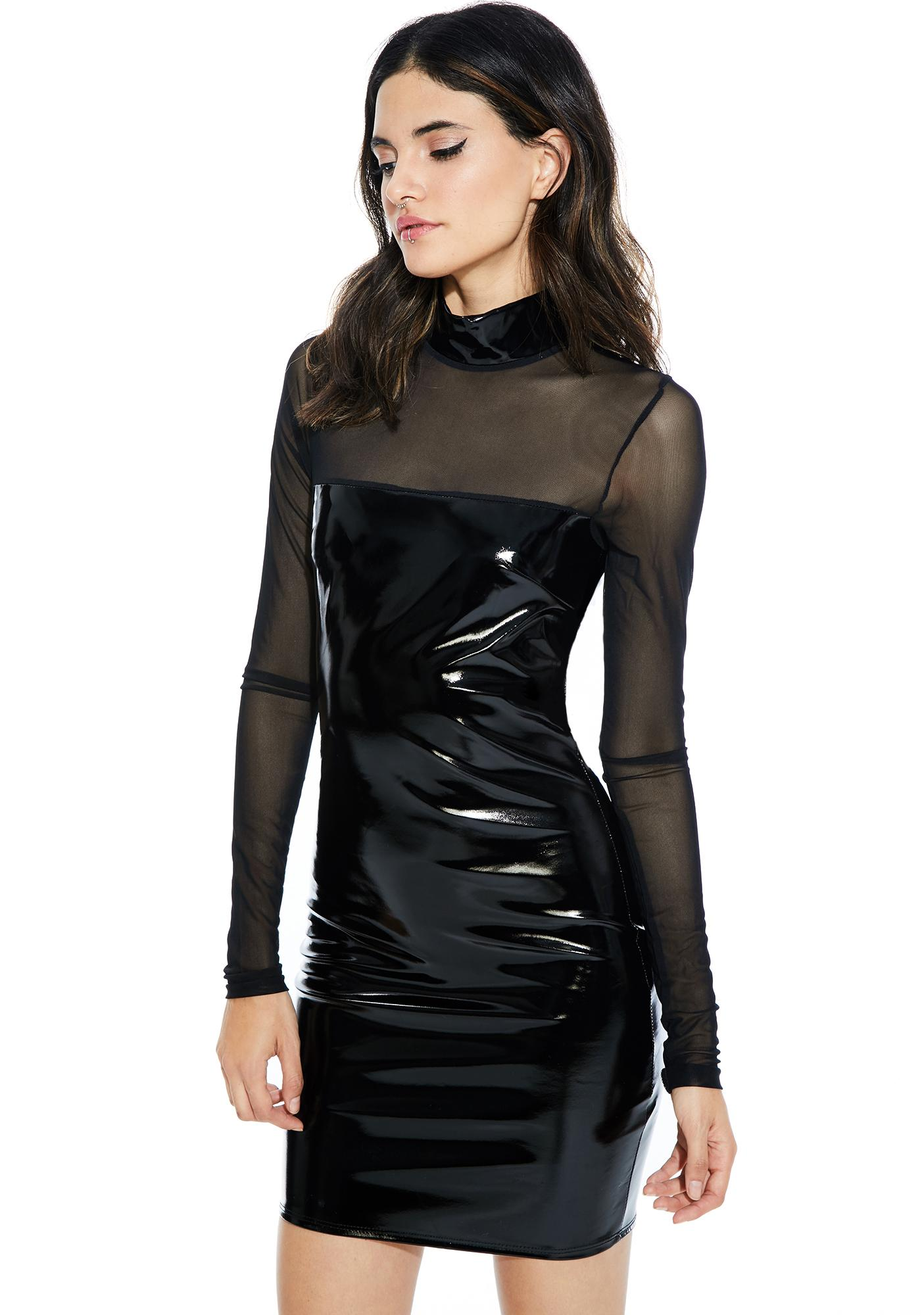 Last Call Vinyl Bodycon Dress