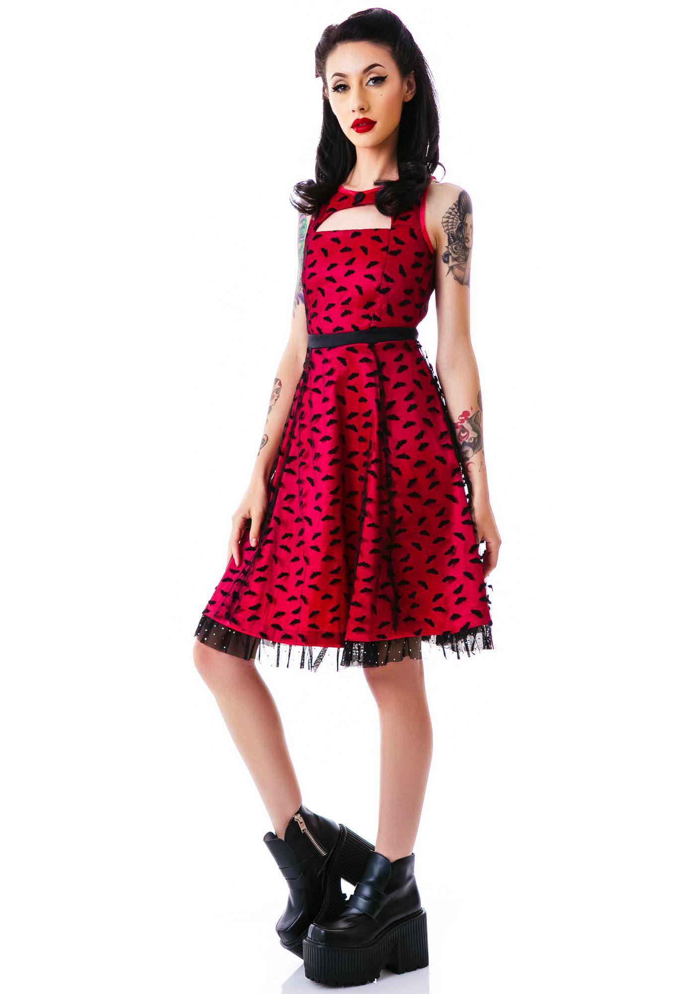Sourpuss Clothing Dance Card Bats Dress