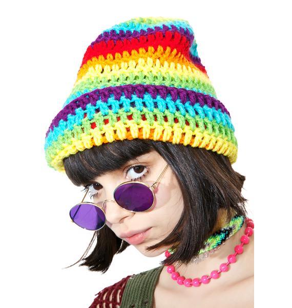 Vintage Rainbow Slouchy Beanie