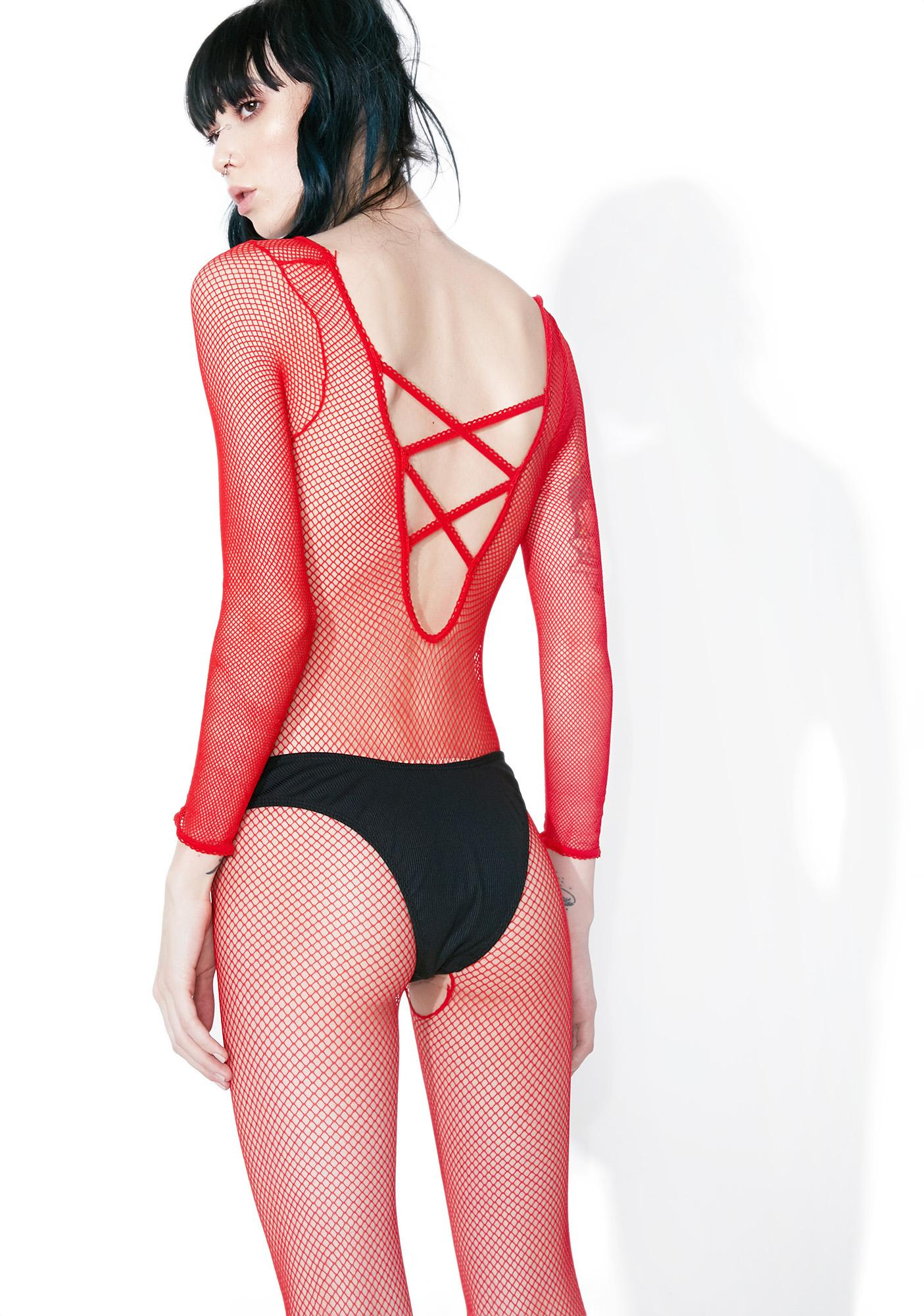 Fire Power Up Fishnet Bodystocking