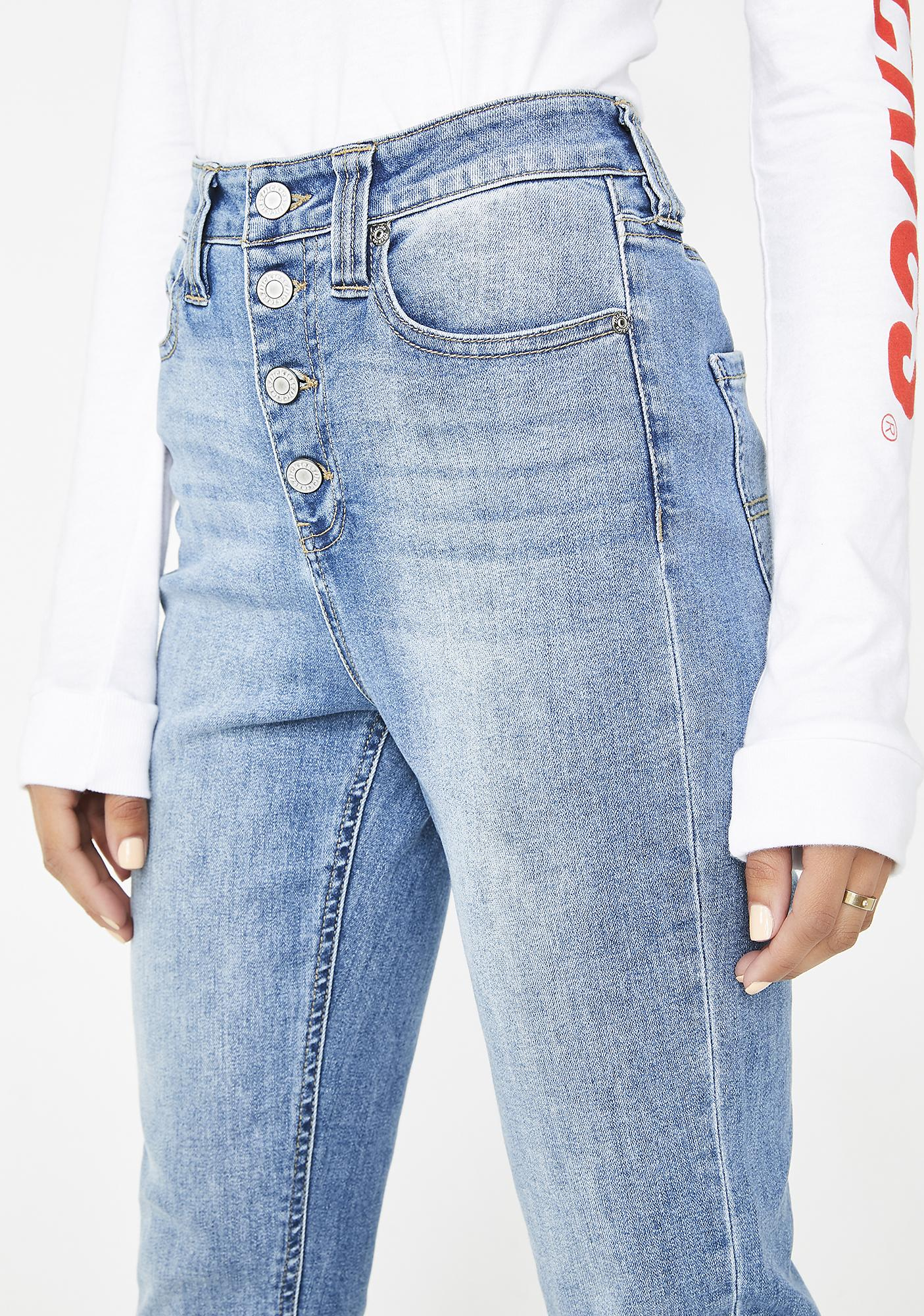 Dickies Girl Authentic Exposed Button High Rise Skinny