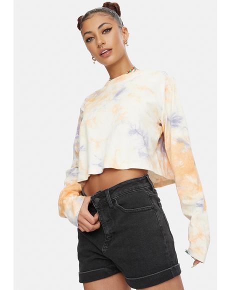 Mid Rise Cuffed Jean Shorts