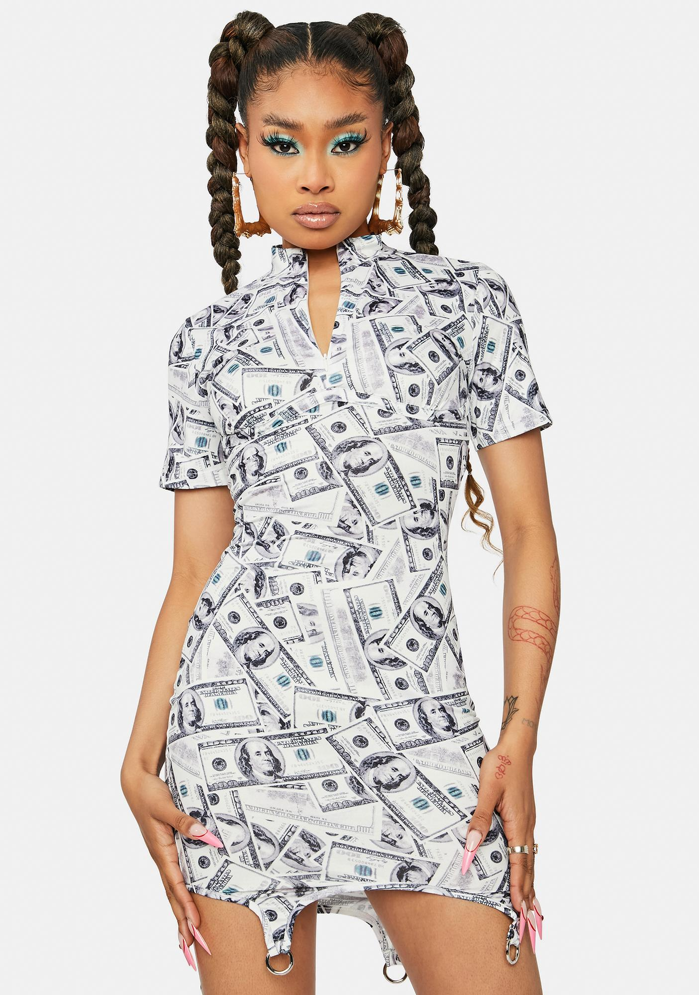 Big Spender Money Print Mini Dress