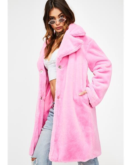 Pink Faux Fur Peacoat