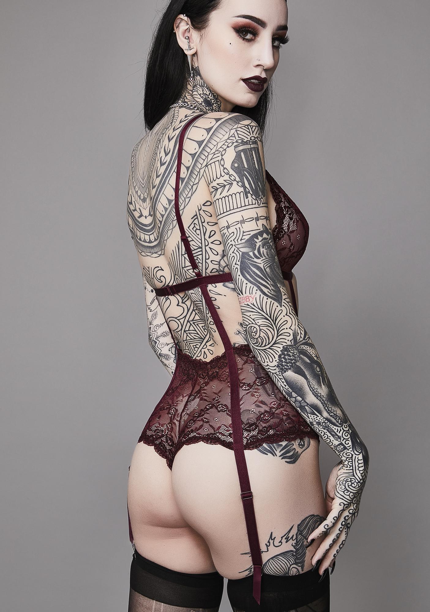 Widow Wine She Is The Dark Lace Bodysuit