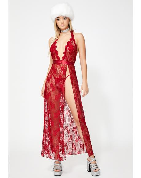 Scarlet Seduction Lace Gown