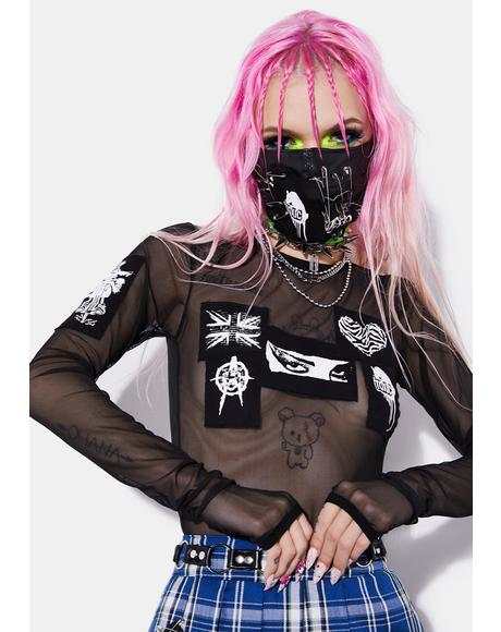 We Are The Riff Raff Mesh Patch Top
