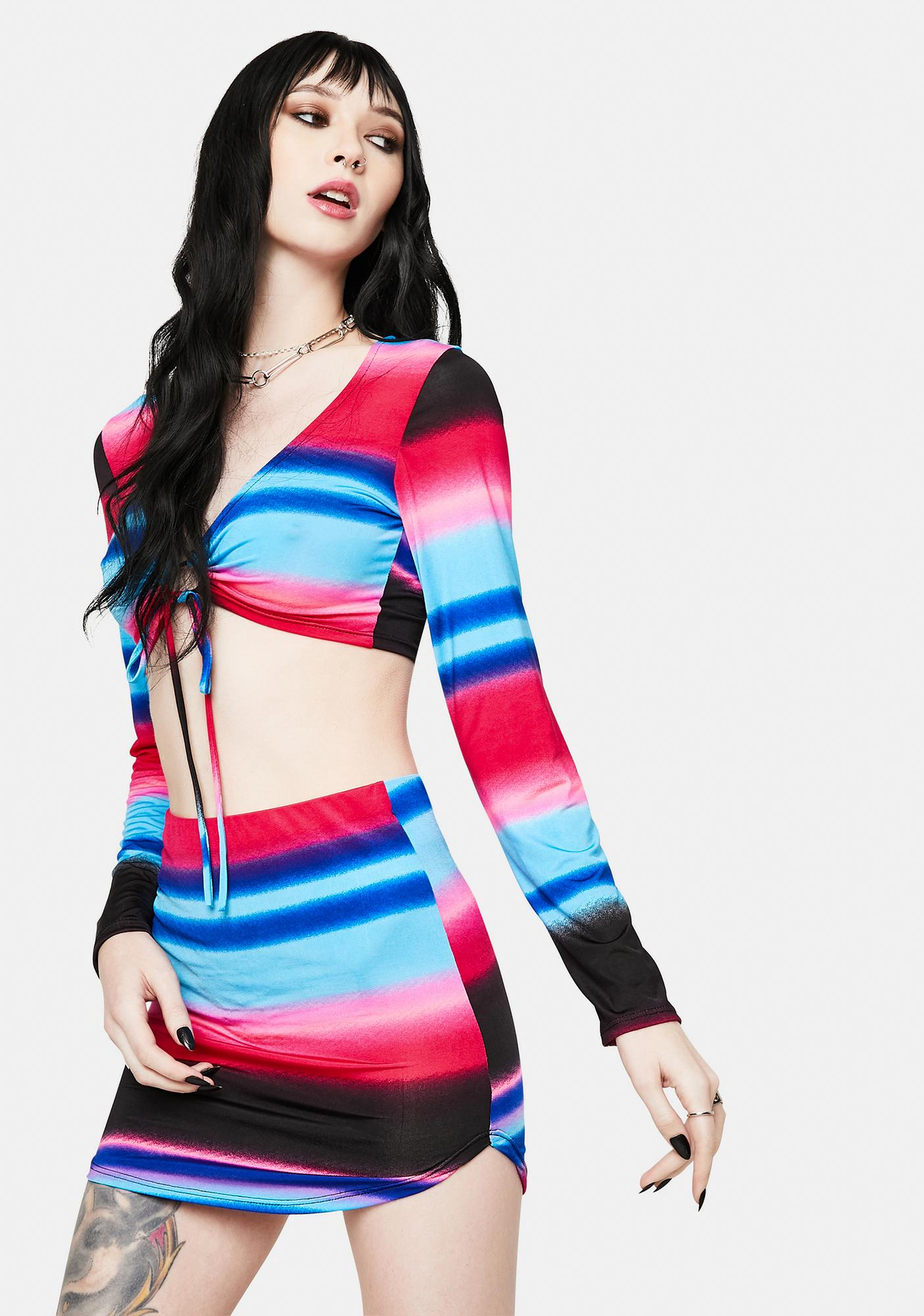 Fuchsia Unlike The Rest Striped Skirt Set