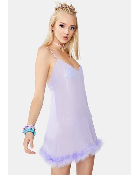 X Betty Page Lilac Chiffon Feather Babydoll Chemise
