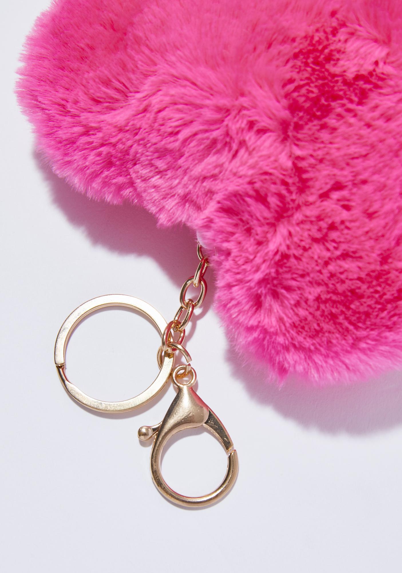 Fuzzy Heart Keychain