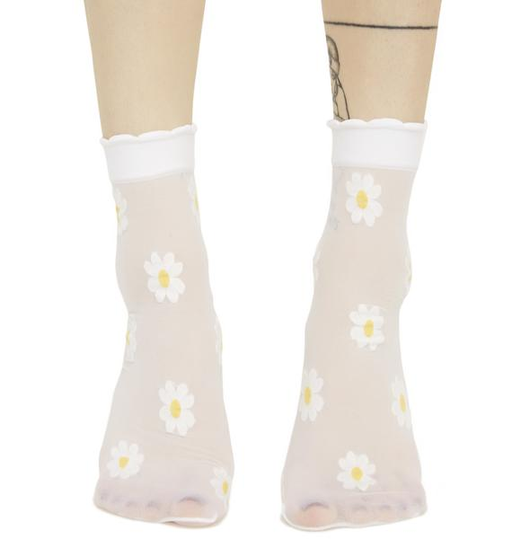 Fields Of Flowers Sheer Ankle Socks