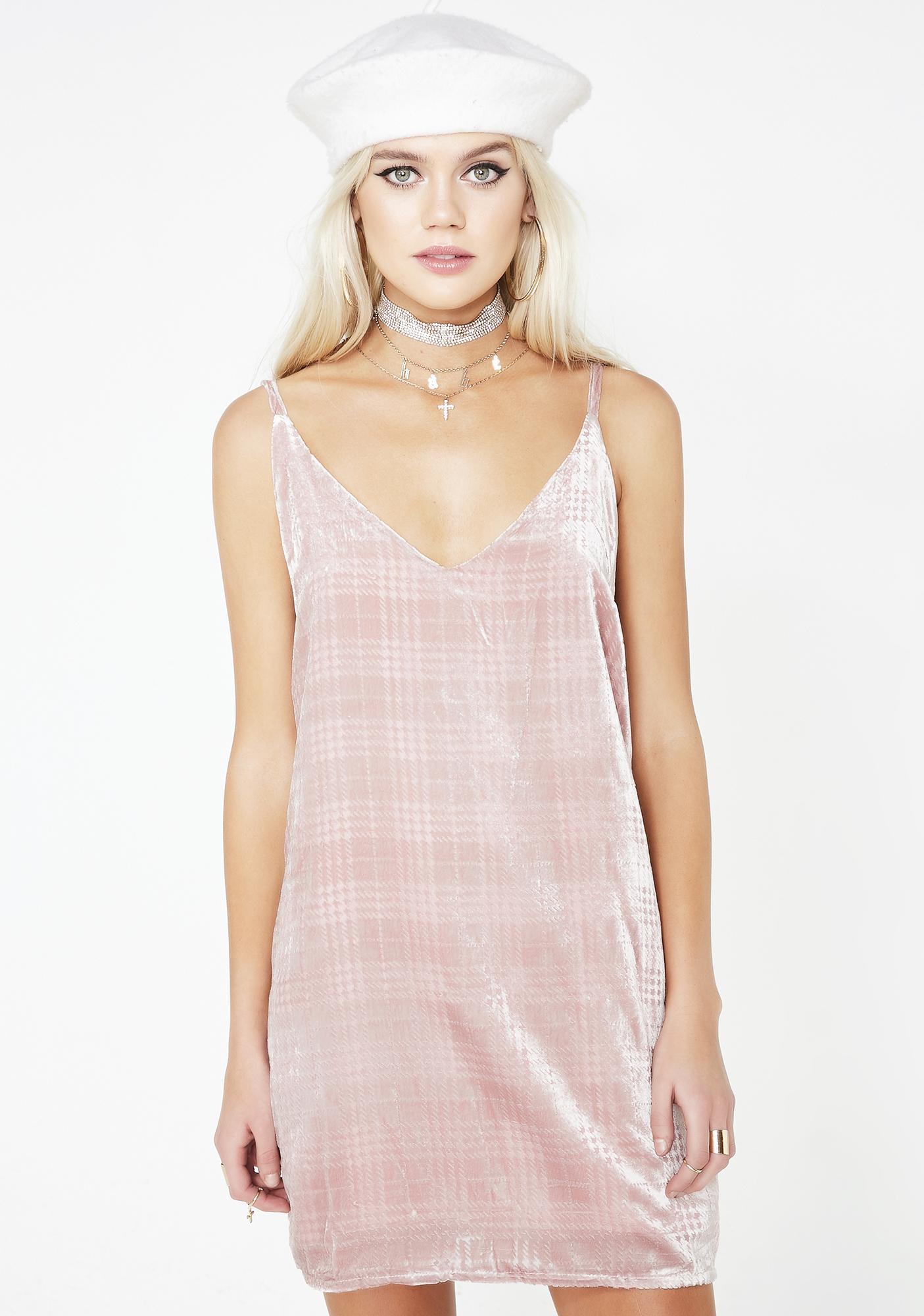 7fe70bbde625 Pink Plaid Velvet Mini Dress