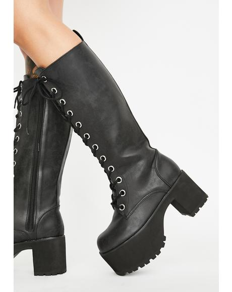 Distressed Knee-High Nosebleed Boots
