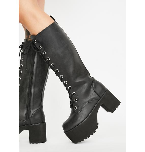 T.U.K. Distressed Knee-High Nosebleed Boots