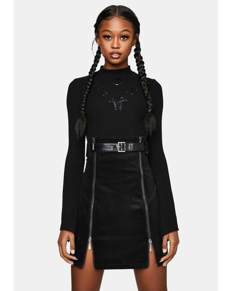 High Waist Zippered Skirt