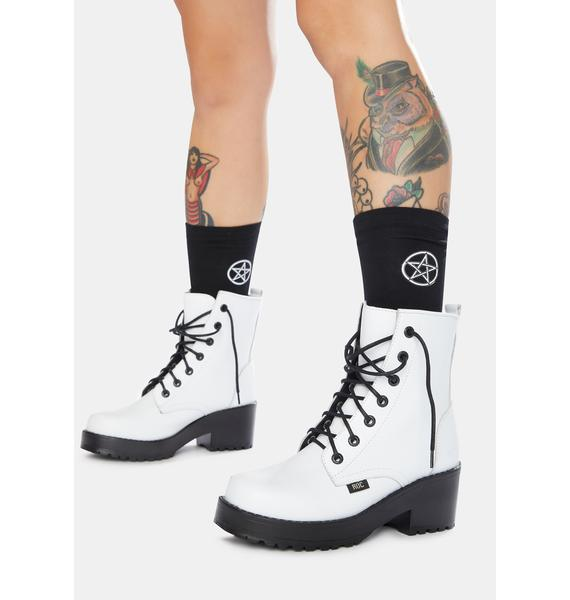 ROC Boots Australia Chisel White Leather Combat Boots