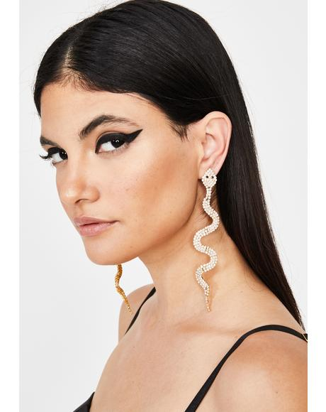 Golden Dangerous Diva Snake Earrings