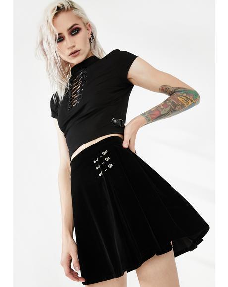 Metal Buckle Decorative Pleated Half Skirt