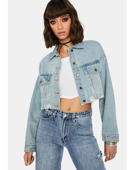 Play It Cool Distressed Denim Jacket