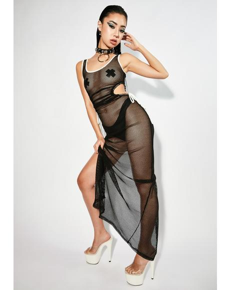 Tell Me A Secret Fishnet Maxi Dress