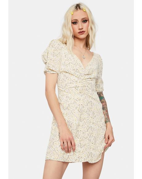 Darling Dancer Floral Puff Sleeve Mini Dress