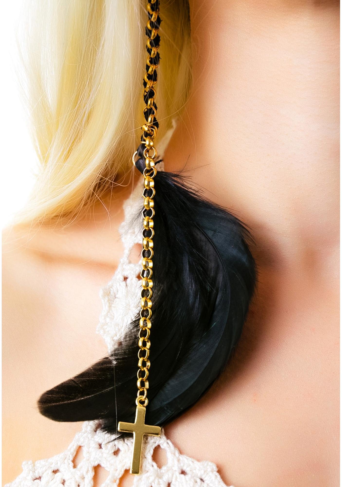 Ettika Cross Pendant Charm Feather Earring
