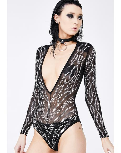 Goddess Land Rhinestone Bodysuit