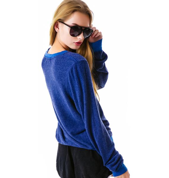 Wildfox Couture Sporty Fox V Neck Baggy Beach Jumper