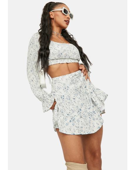 Hidden Cottage Floral Tiered Mini Skirt