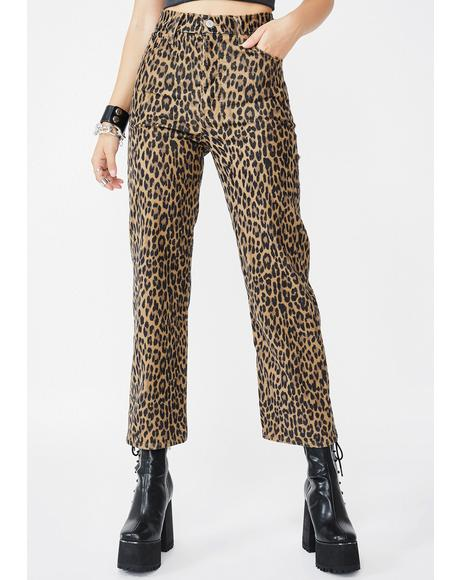 Gehu Leopard Corduroy Straight Leg Pants