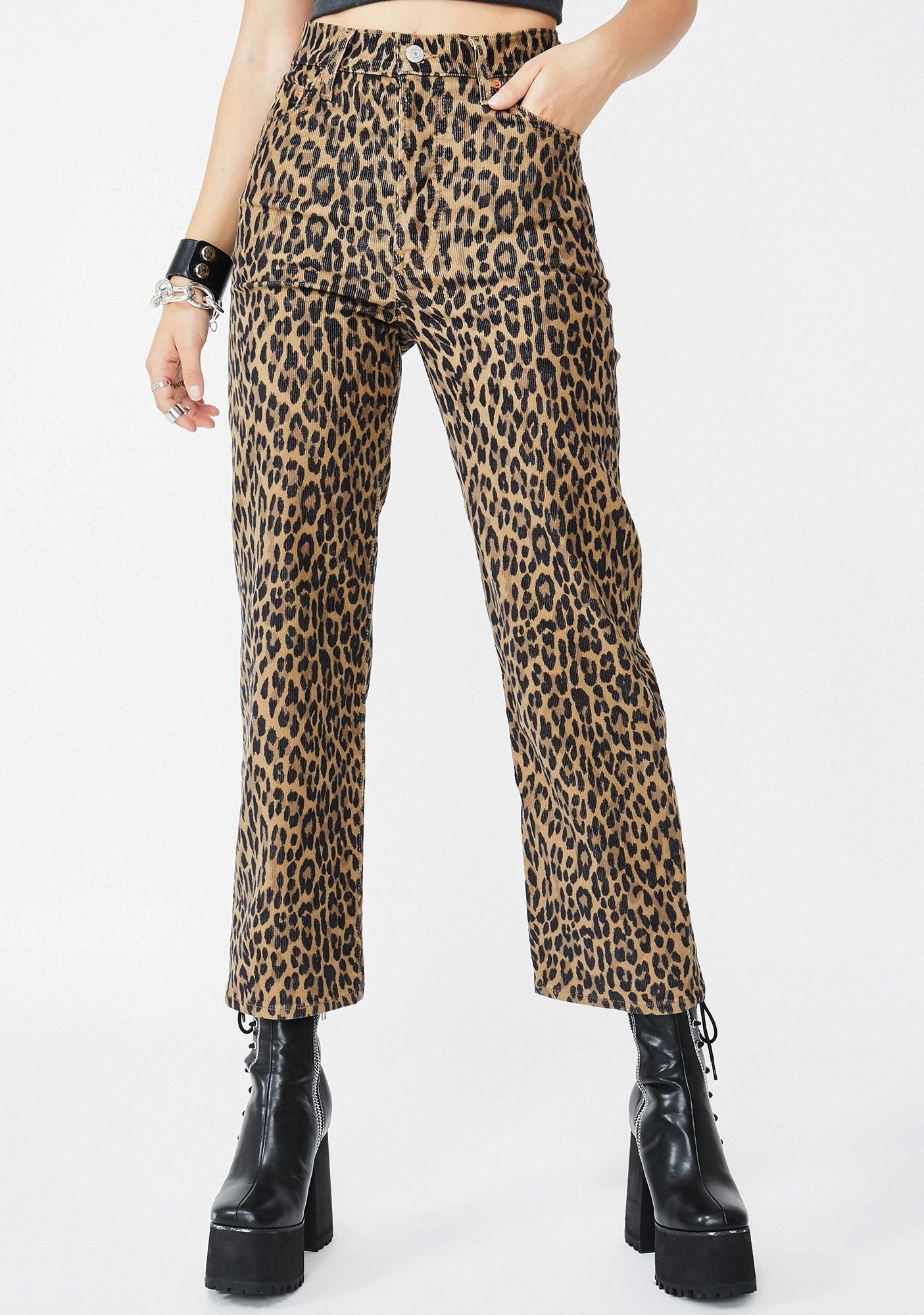 Gehu Leopard Corduroy Straight Leg Pants by Levis