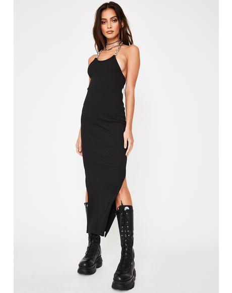 Strip Chain Midi Dress