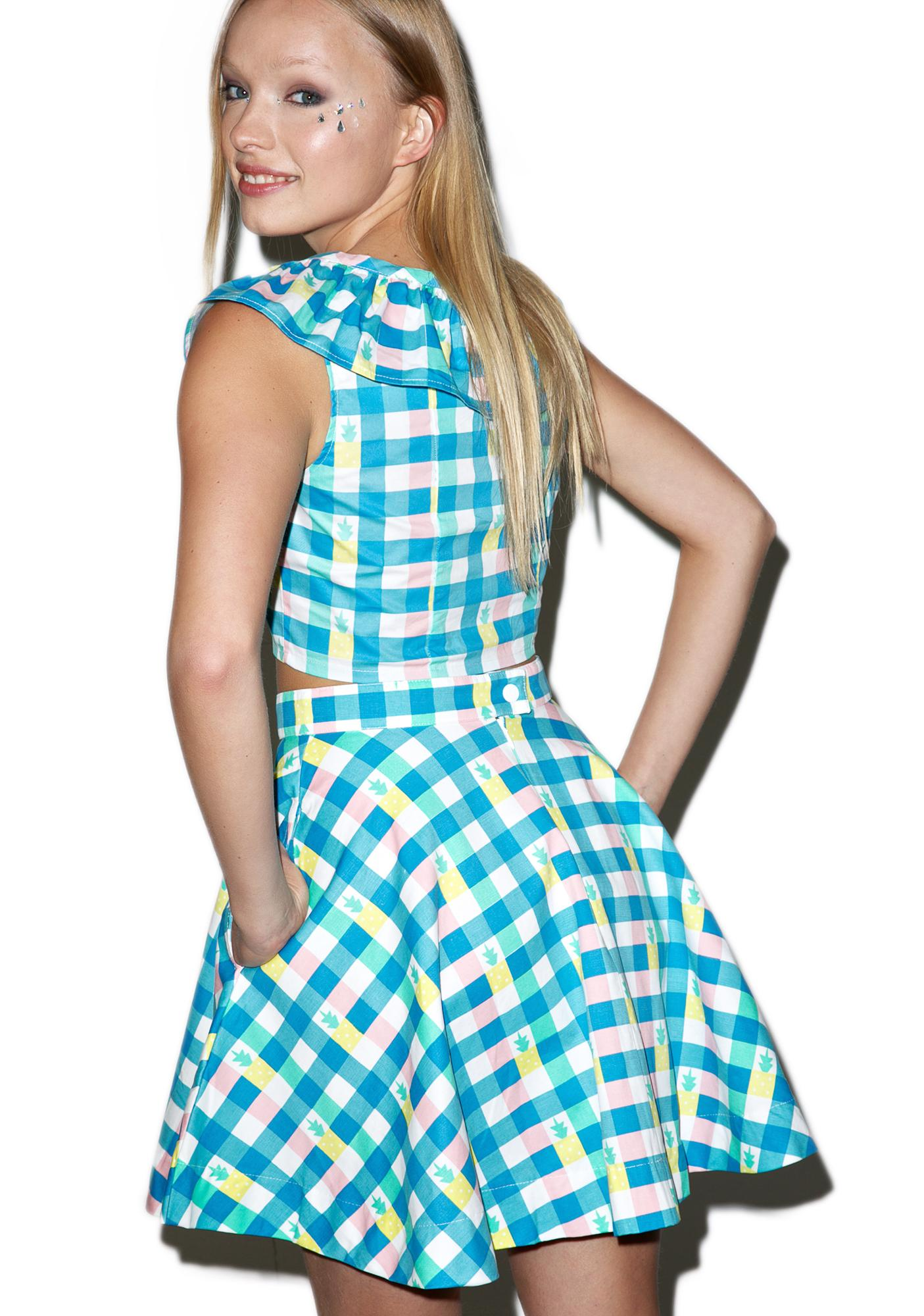 Lazy Oaf Pineapple Gingham Circle Skirt