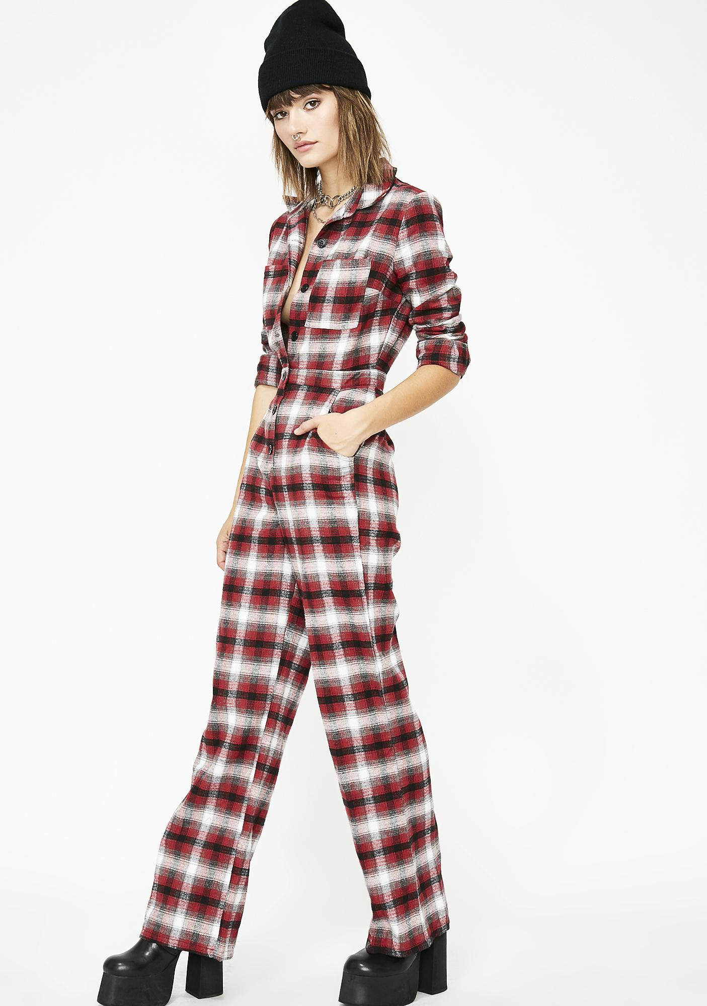 c3b018b677b Flannel Long Sleeve Button Up Jumpsuit
