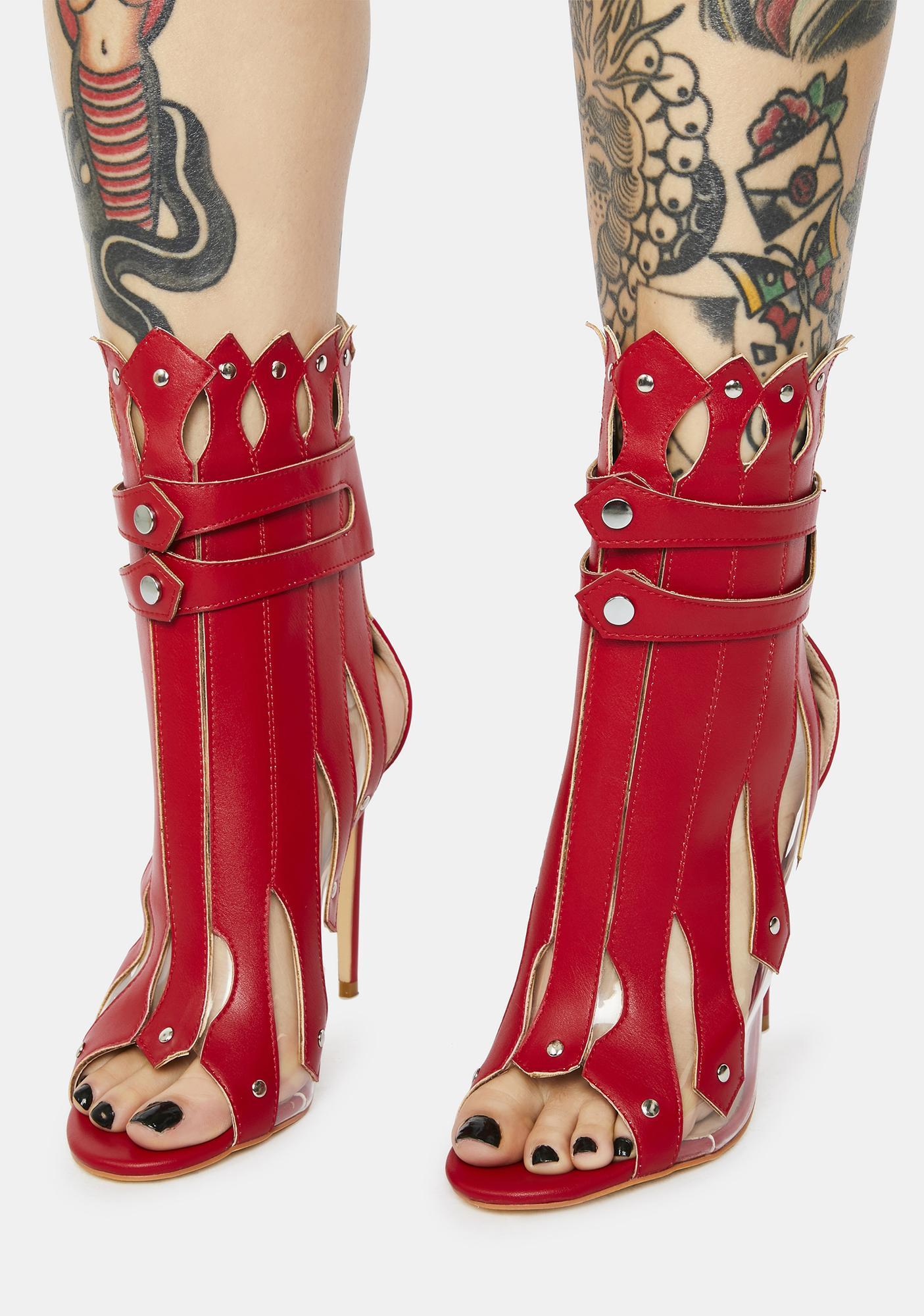 AZALEA WANG Red Gladiator Heeled Booties