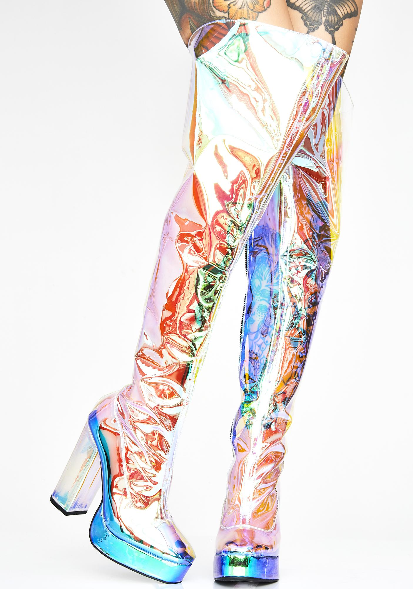 Current Mood Prismatic Galactic Thigh Highs
